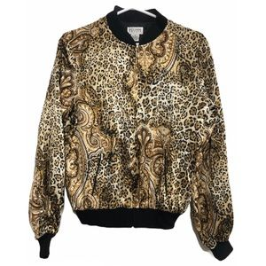 NWT Vintage 100% Silk Bomber Jacket Animal Print M